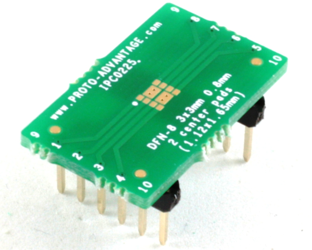 DFN-8 to DIP-12 SMT Adapter (0.8 mm pitch, 3 x 3 mm body) 0