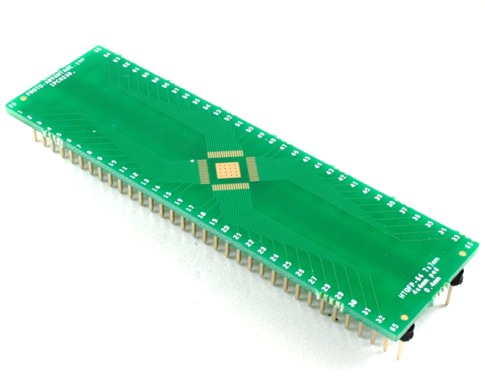 HTQFP-64 to DIP-68 SMT Adapter (0.4 mm pitch, 7 x 7 mm body) 0