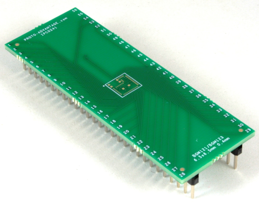 BGM121/BGM123 to DIP-56 SMT Adapter (0.4 mm pitch, 6.5 x 6.5 mm body) 0