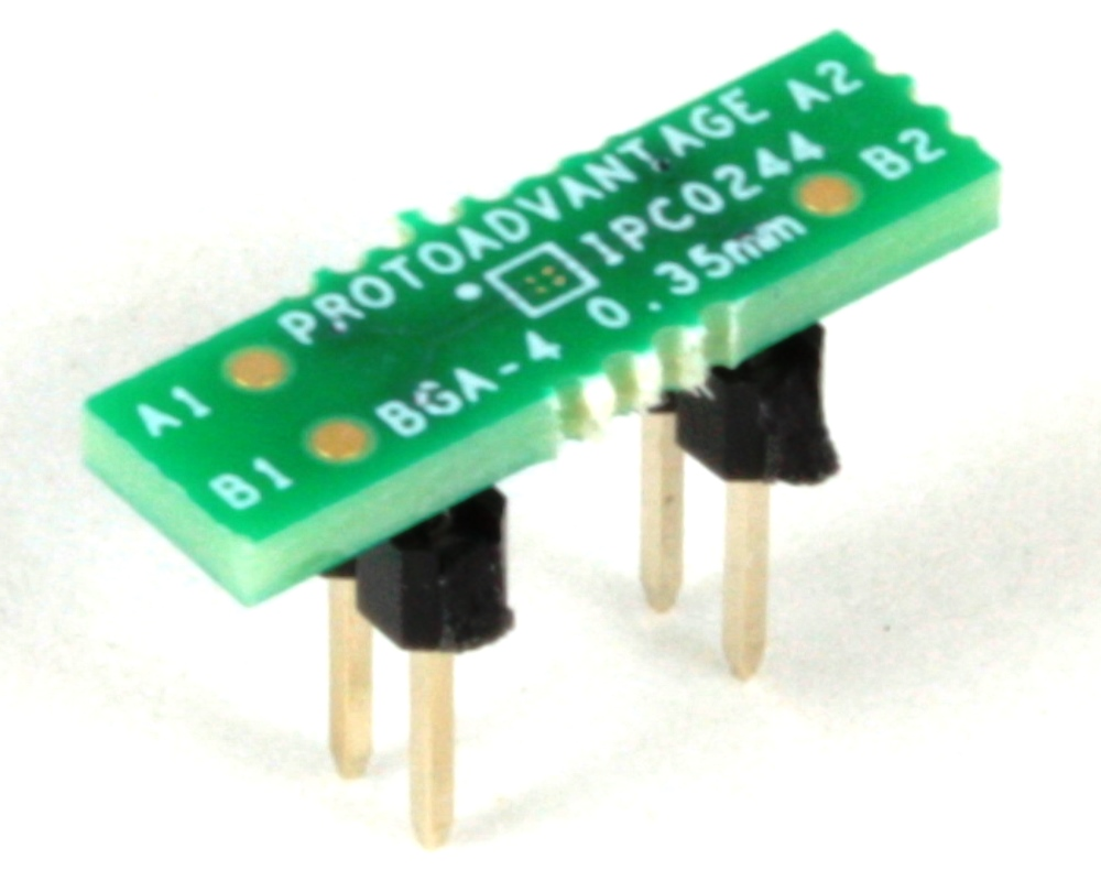 BGA-4 to DIP-4 SMT Adapter (0.35 mm pitch, 0.64 x 0.64 mm body) 0