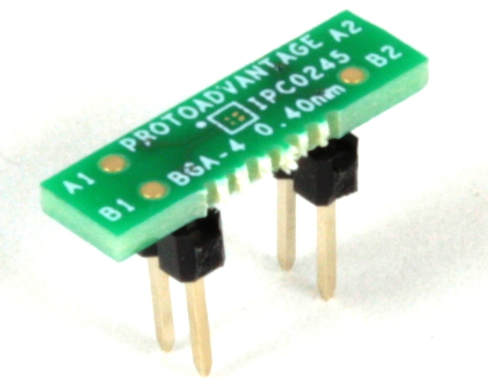 BGA-4 to DIP-4 SMT Adapter (0.4 mm pitch, 0.88 x 0.88 mm body) 0
