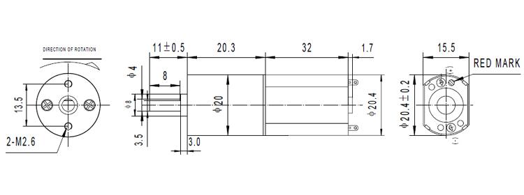 DC Gear Motor 6V  21RPM 65mN-m 1