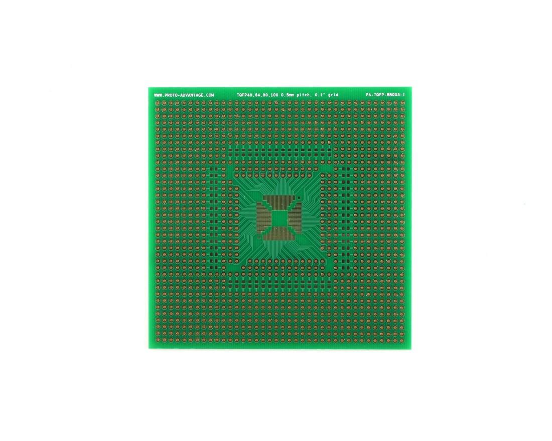 TQFP 48,64,80,100 pin breadboard - TH with 0805 0