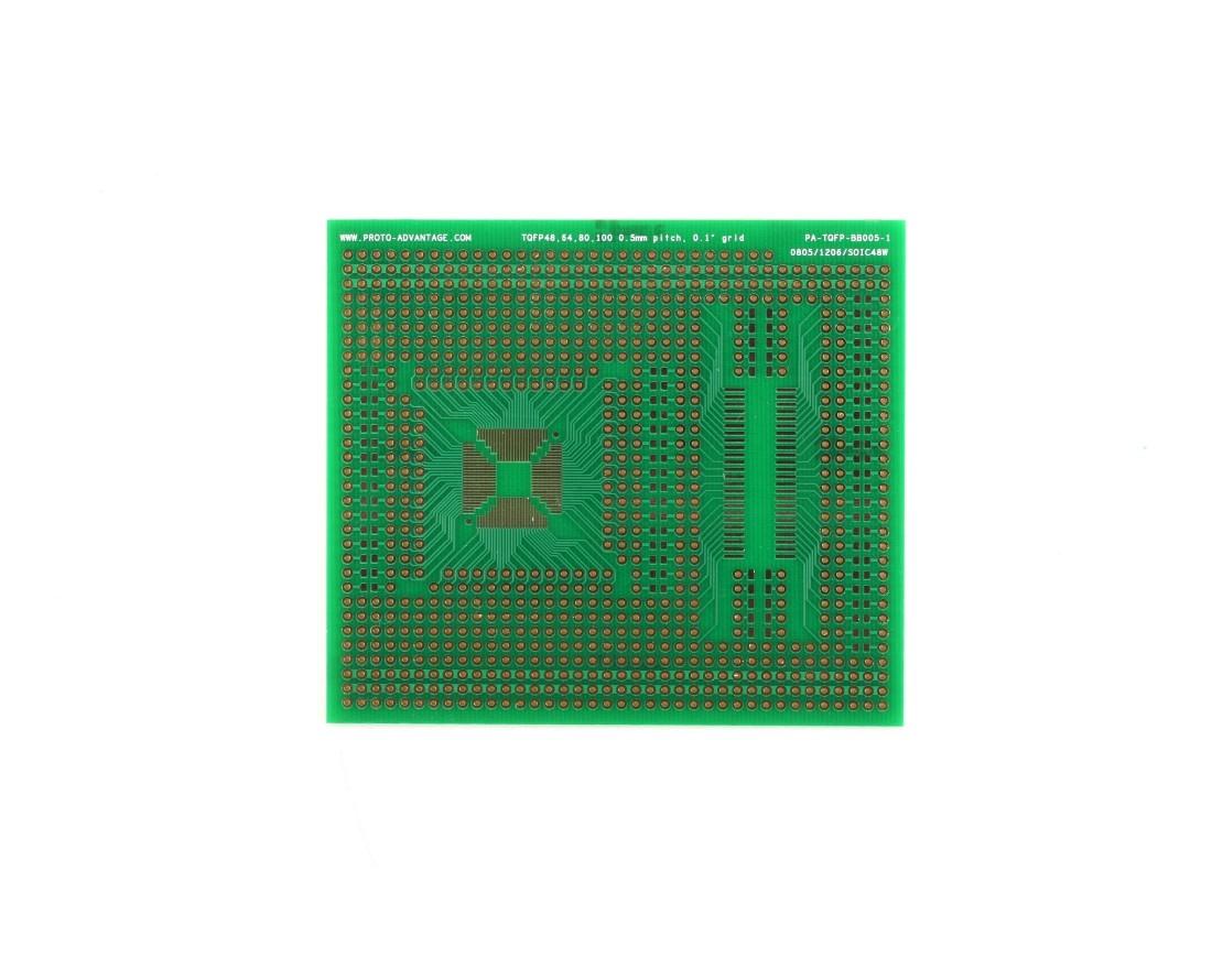 TQFP 48,64,80,100 pin breadboard - TH with SOIC-48, SOIC-8, 0805 0