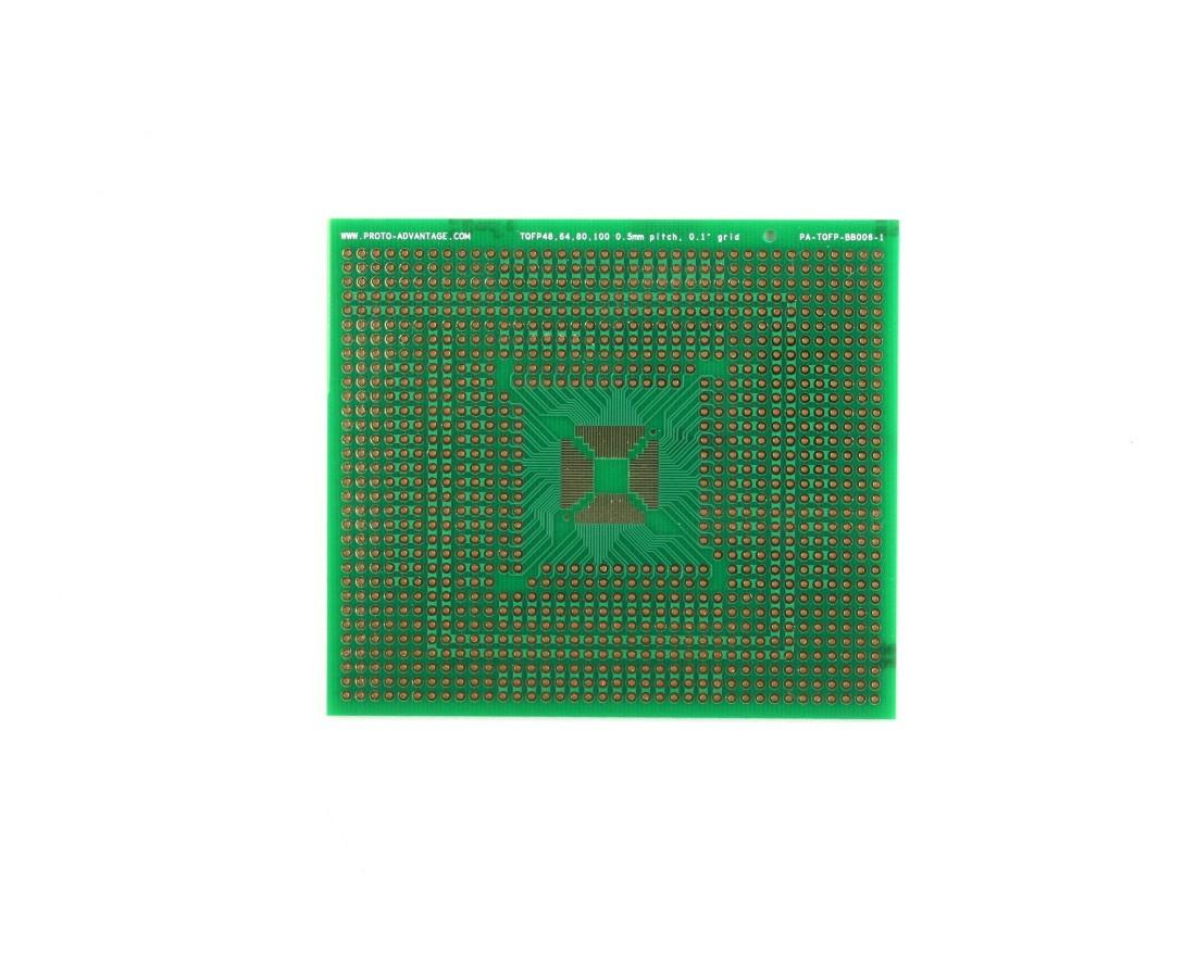TQFP 48,64,80,100 pin breadboard - TH with Power Rails 0