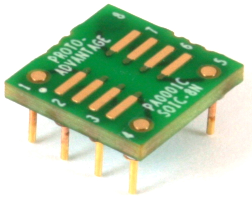 SOIC-8 to DIP-8 SMT Adapter (1.27 mm pitch, 150/200 mil body) Compact Series 0