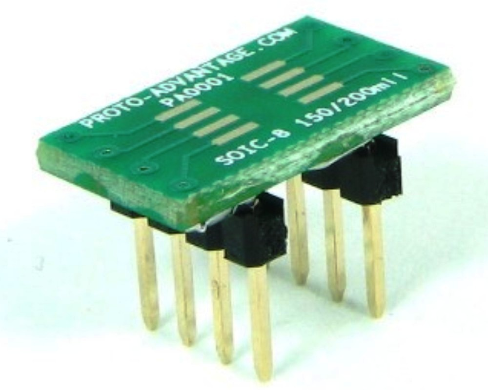 SOIC-8 to DIP-8 SMT Adapter (1.27 mm pitch, 150/200 mil body) 0
