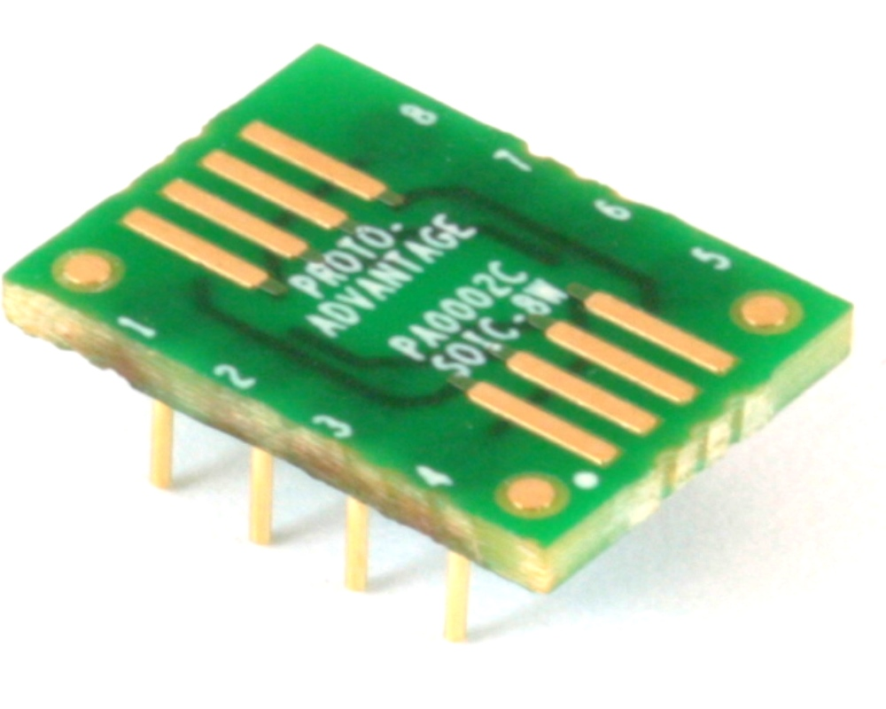 SOIC-8 to DIP-8 SMT Adapter (1.27 mm pitch, 300 mil body) Compact Series 0