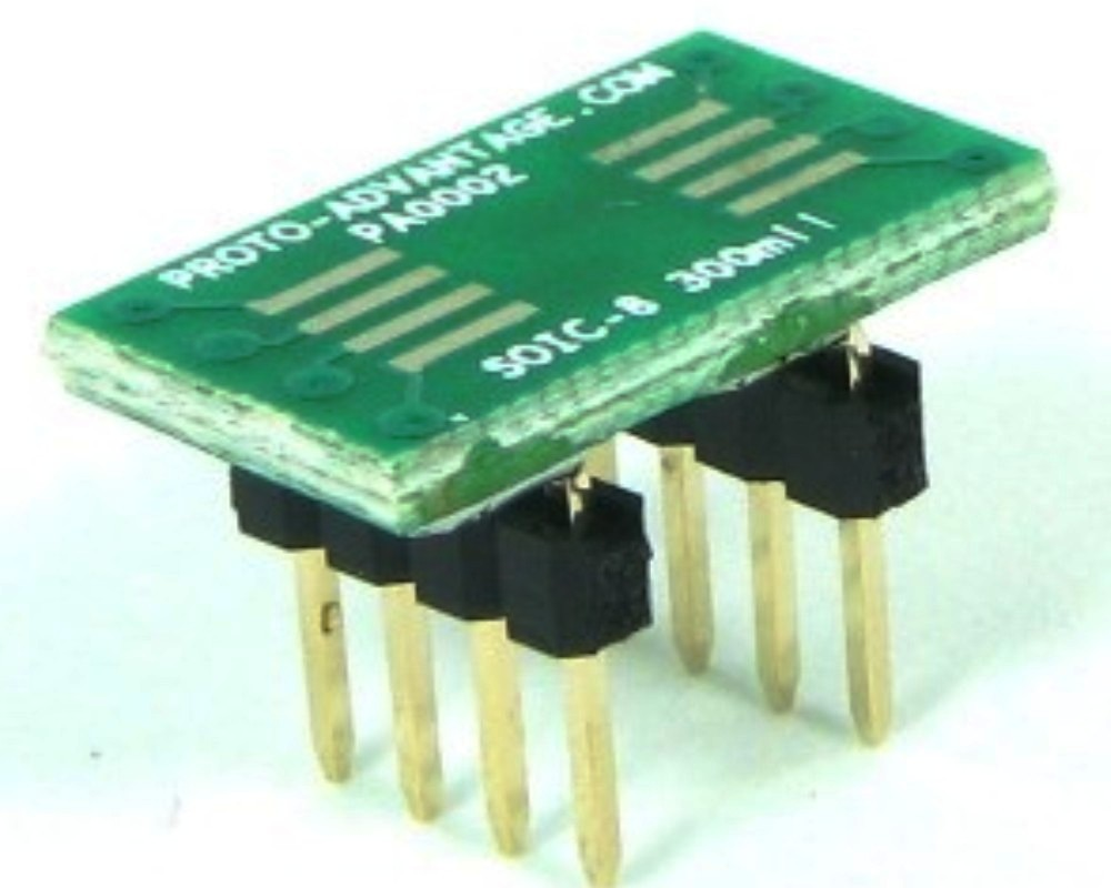 SOIC-8 to DIP-8 SMT Adapter (1.27 mm pitch, 300 mil body) 0