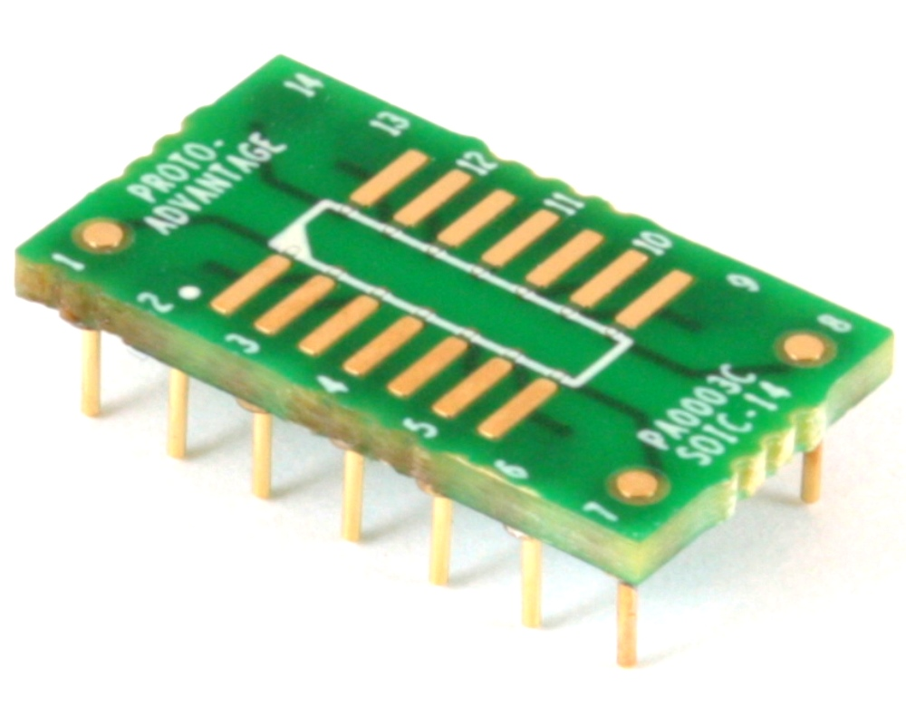 SOIC-14 to DIP-14 SMT Adapter (1.27 mm pitch, 150/200 mil body) Compact Series 0