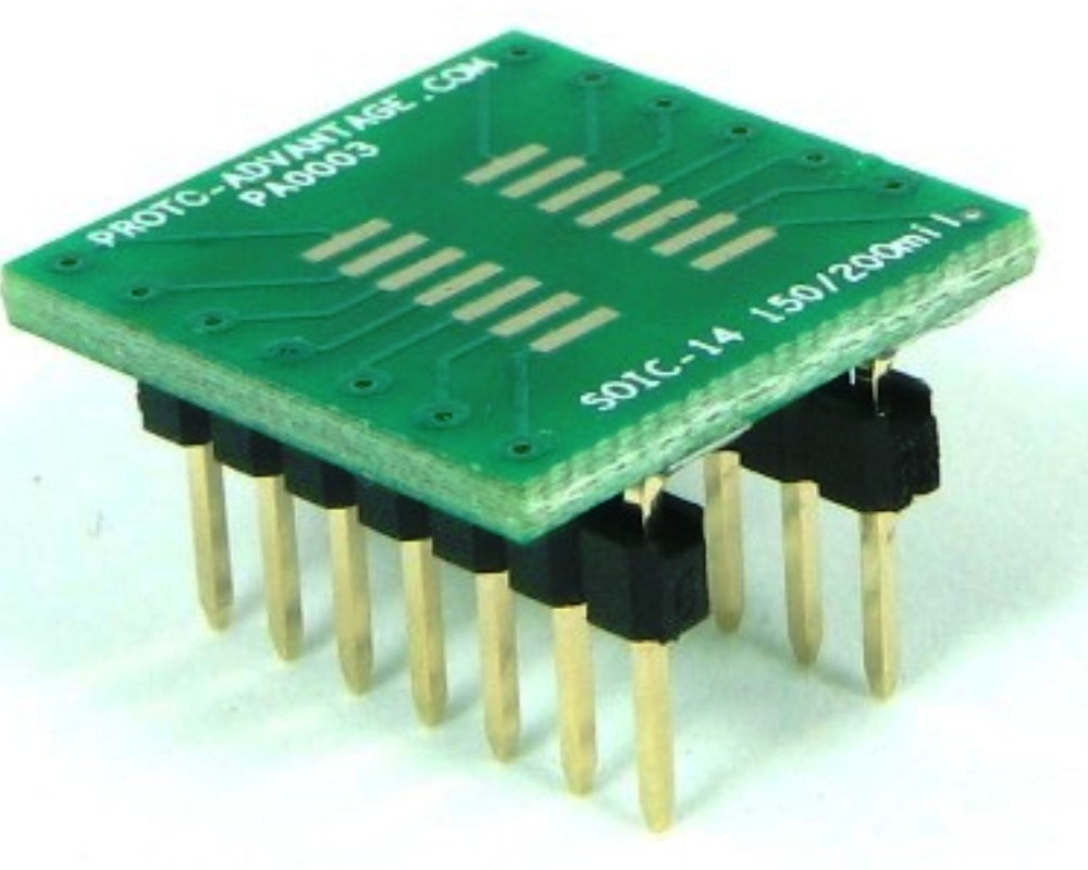 SOIC-14 to DIP-14 SMT Adapter (1.27 mm pitch, 150/200 mil body) 0