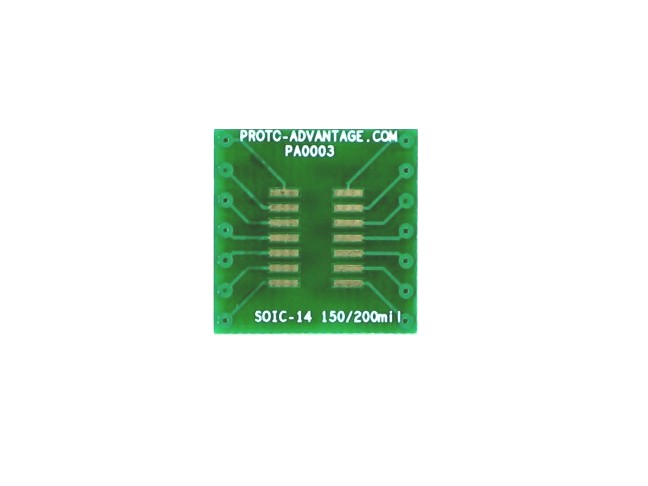 SOIC-14 to DIP-14 SMT Adapter (1.27 mm pitch, 150/200 mil body) 2