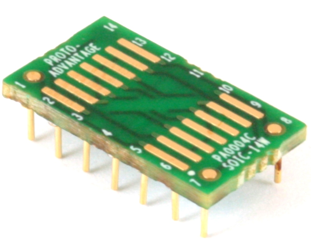 SOIC-14 to DIP-14 SMT Adapter (1.27 mm pitch, 300 mil body) Compact Series 0