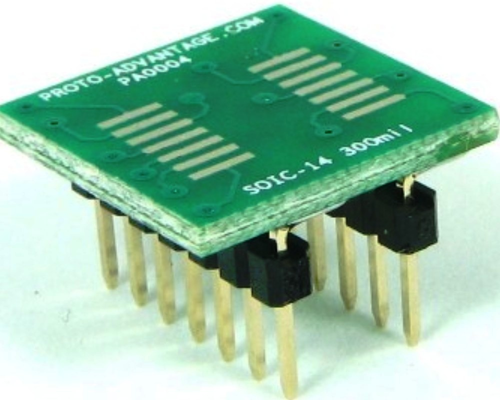 SOIC-14 to DIP-14 SMT Adapter (1.27 mm pitch, 300 mil body) 0