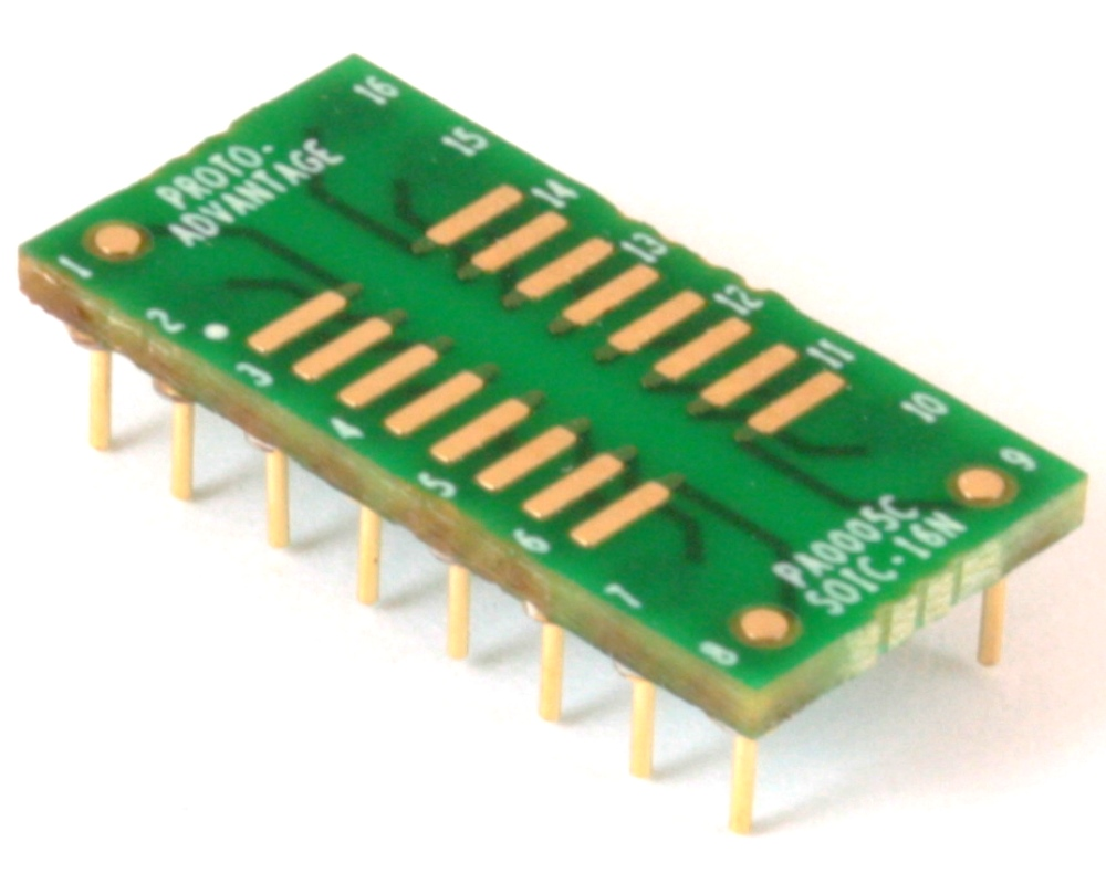 SOIC-16 to DIP-16 SMT Adapter (1.27 mm pitch, 150/200 mil body) Compact Series 0