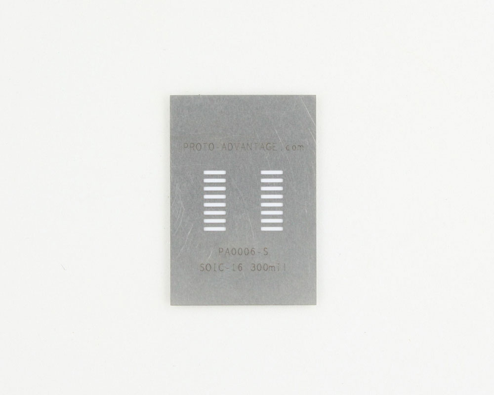 SOIC-16 (1.27 mm pitch) Stainless Steel Stencil 0