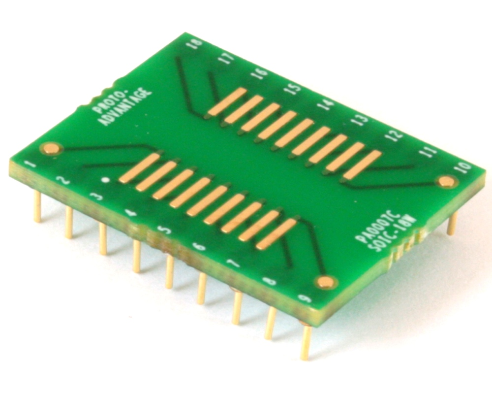 SOIC-18 to DIP-18 SMT Adapter (1.27 mm pitch, 600 mil body) Compact Series 0
