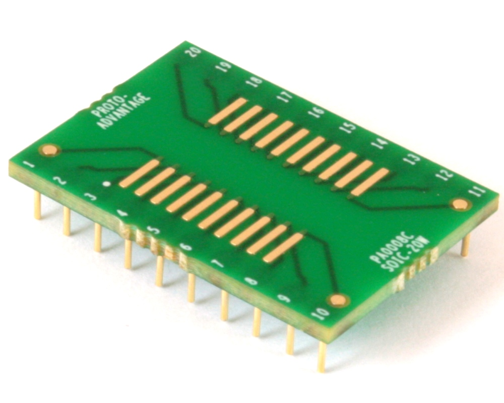 SOIC-20 to DIP-20 SMT Adapter (1.27 mm pitch, 600 mil body) Compact Series 0