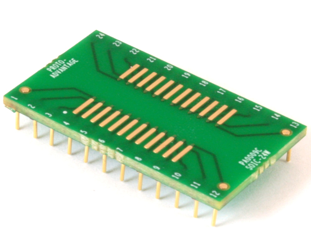 SOIC-24 to DIP-24 SMT Adapter (1.27 mm pitch, 600 mil body) Compact Series 0