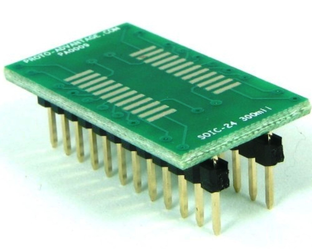 SOIC-24 to DIP-24 SMT Adapter (1.27 mm pitch, 300 mil body) 0