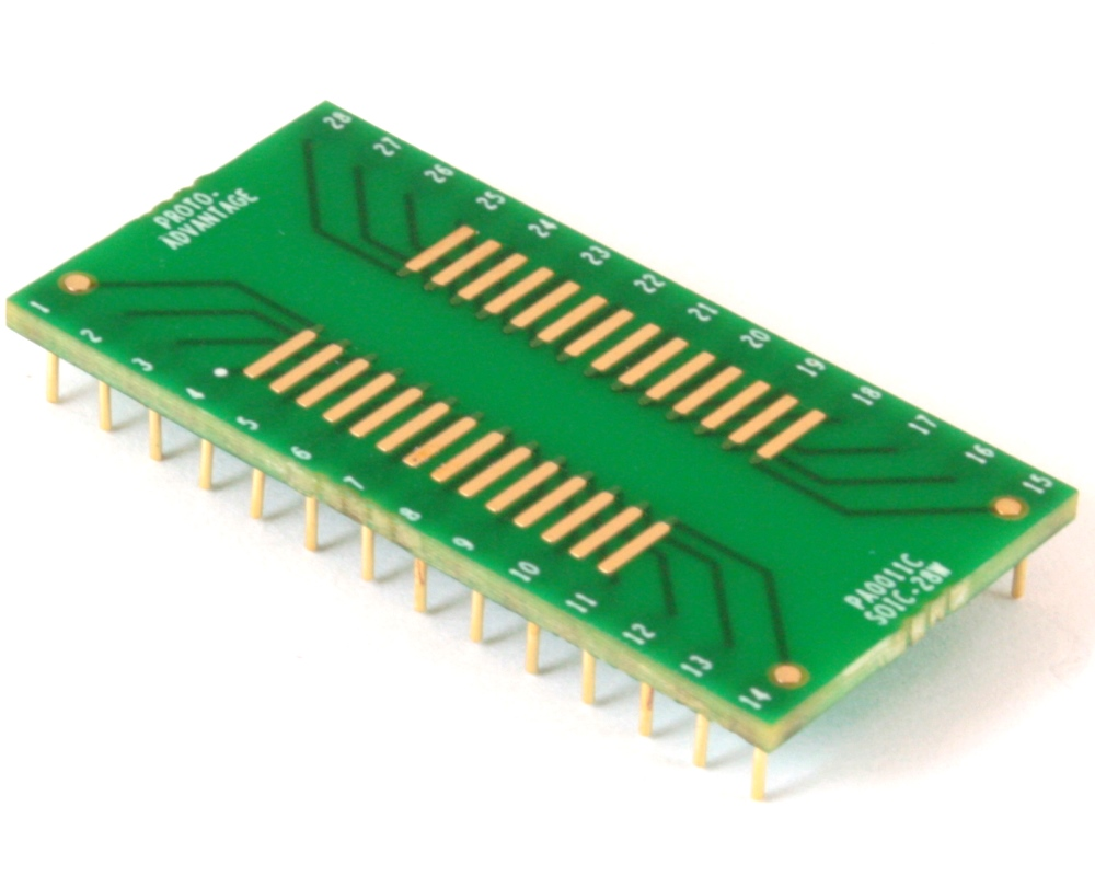 SOIC-28 to DIP-28 SMT Adapter (1.27 mm pitch, 600 mil body) Compact Series 0