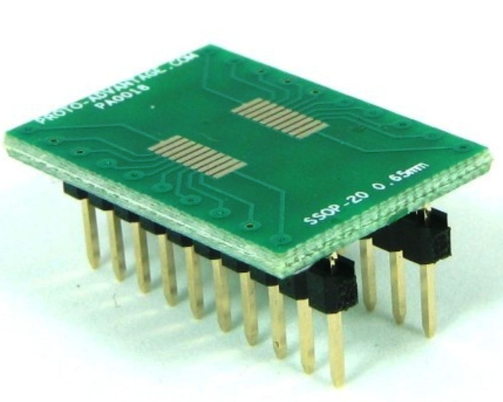 SSOP-20 to DIP-20 SMT Adapter (0.65 mm pitch) 0