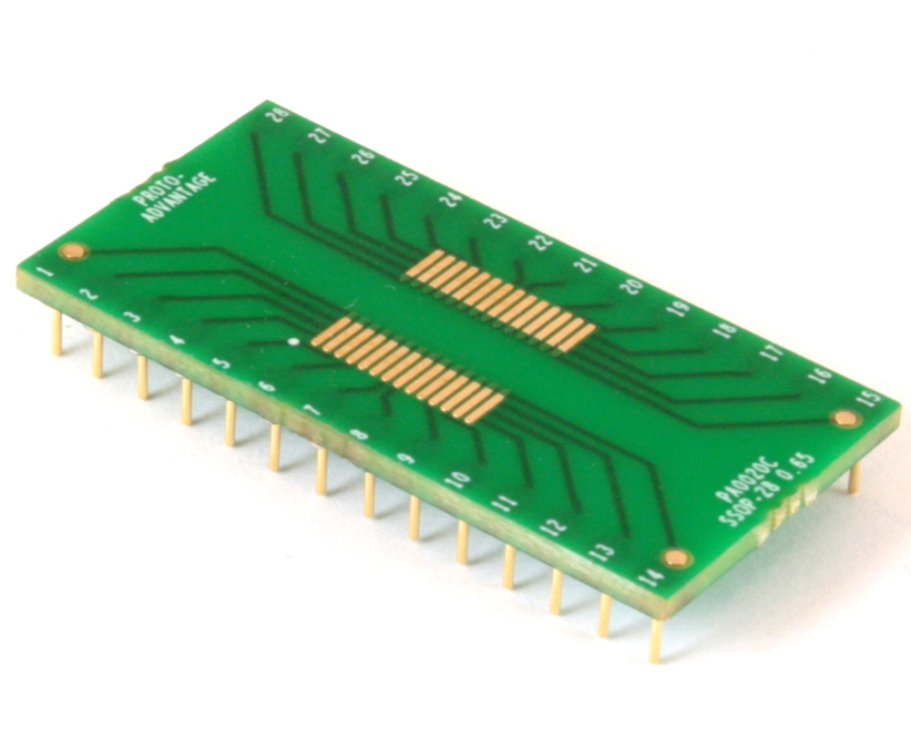SSOP-28 to DIP-28 SMT Adapter (0.65 mm pitch) Compact Series 0