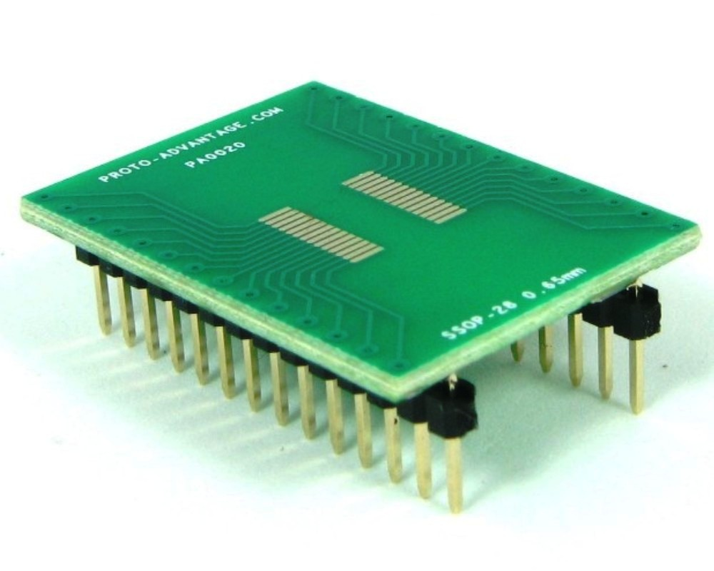 SSOP-28 to DIP-28 SMT Adapter (0.65 mm pitch) 0