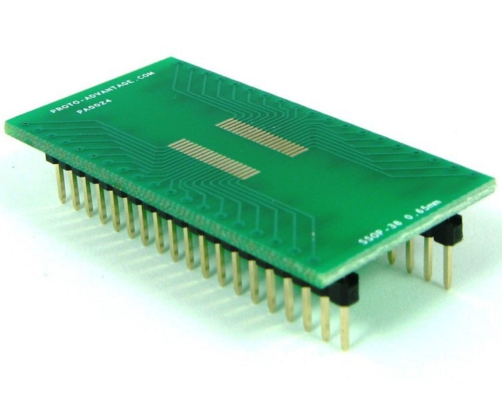 SSOP-38 to DIP-38 SMT Adapter (0.65 mm pitch) 0