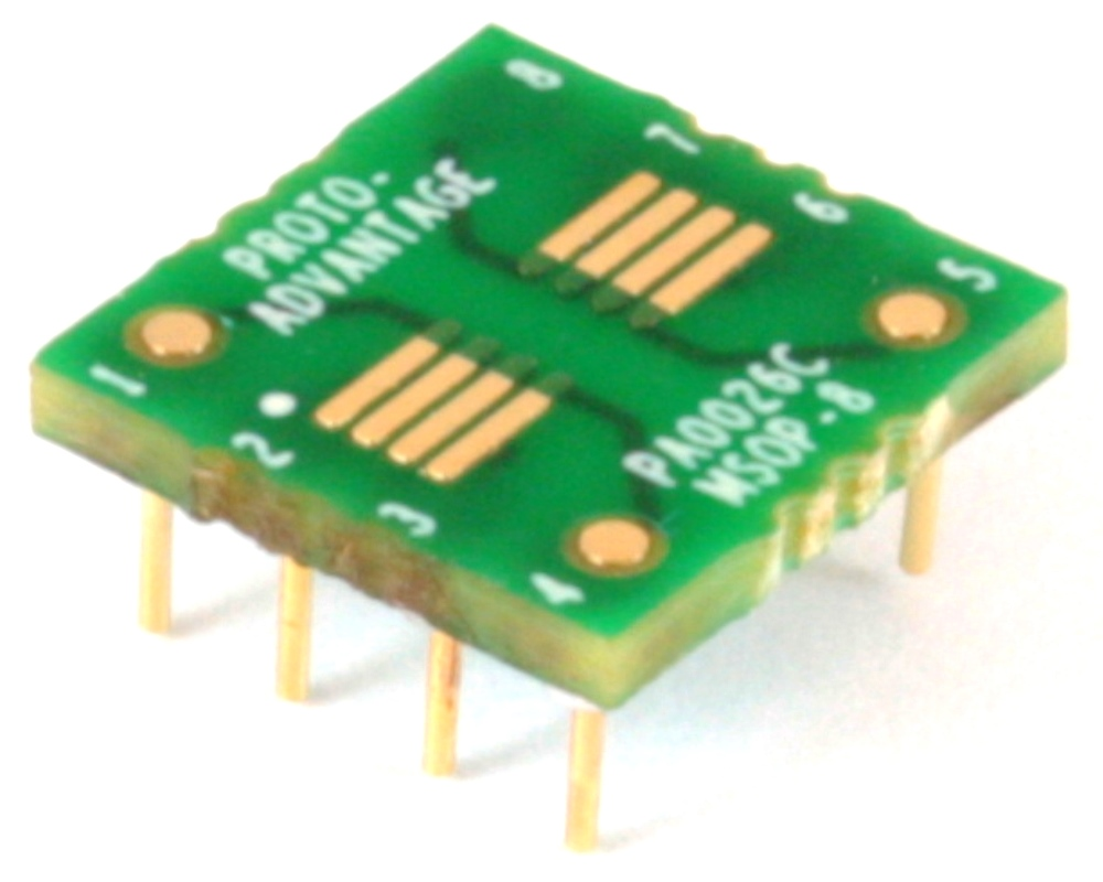 uMAX-8/uSOP-8/MSOP-8 to DIP-8 SMT Adapter (0.65 mm pitch) Compact Series 0