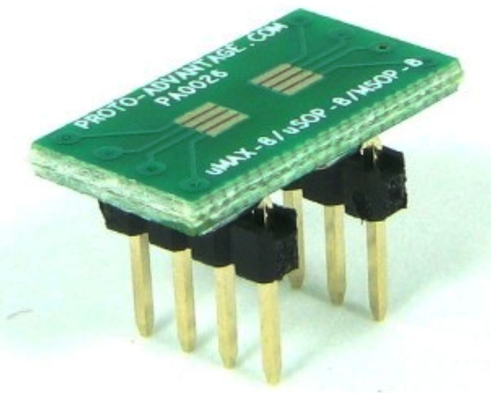 MSOP-8 to DIP-8 SMT Adapter (0.65 mm pitch) 0