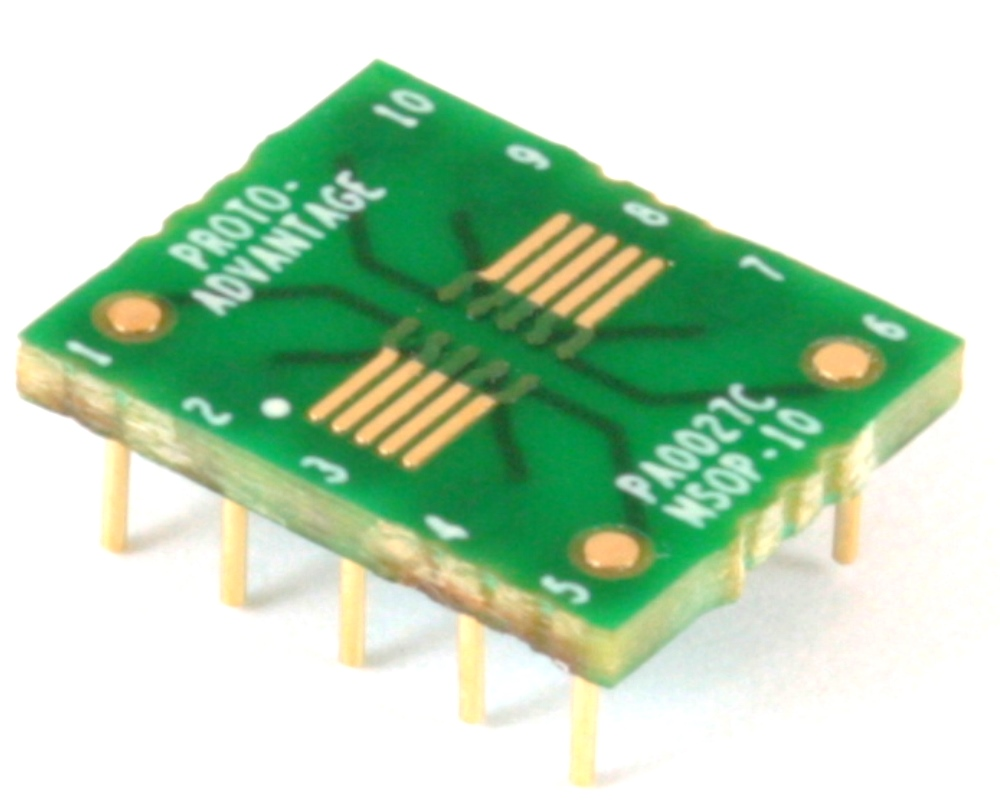 uMAX-10/uSOP-10/MSOP-10 to DIP-10 SMT Adapter (0.5 mm pitch) Compact Series 0