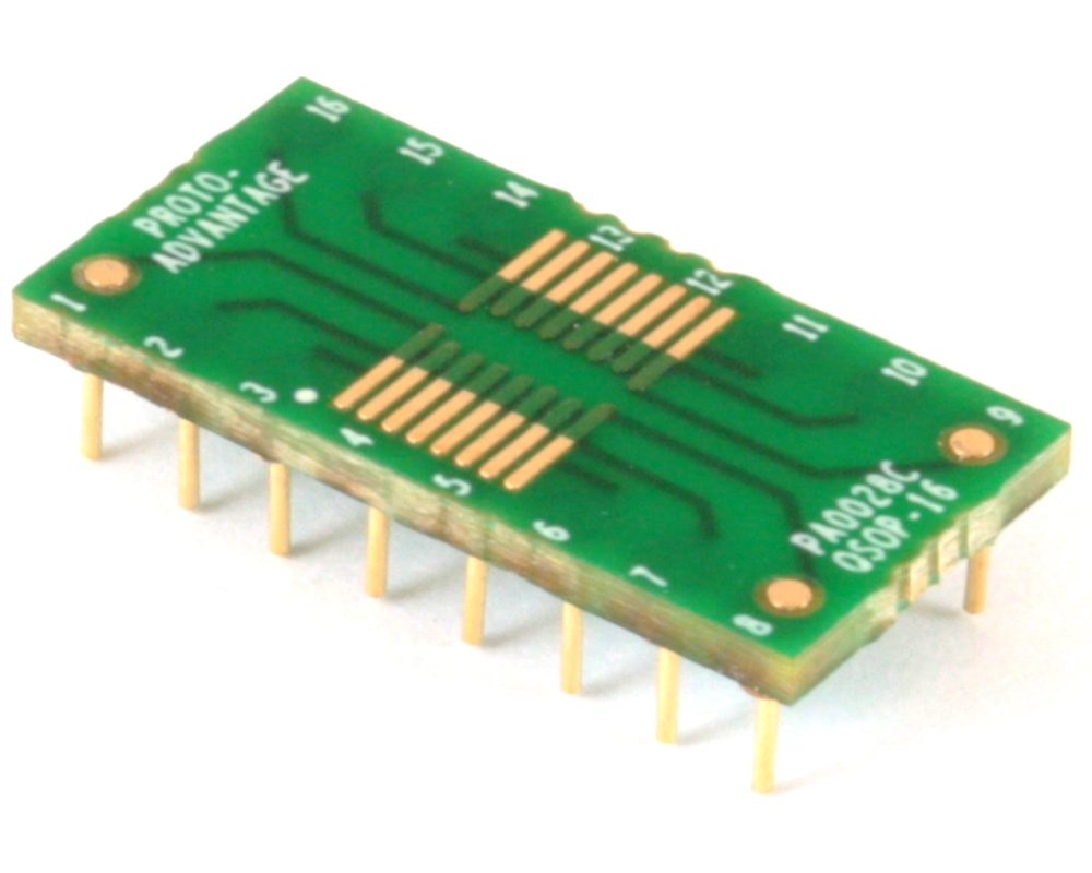 QSOP-16 to DIP-16 SMT Adapter (0.635 mm / 25 mil pitch) Compact Series 0