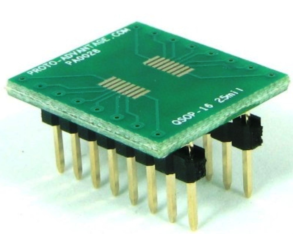 QSOP-16 to DIP-16 SMT Adapter (0.635 mm / 25 mil pitch) 0