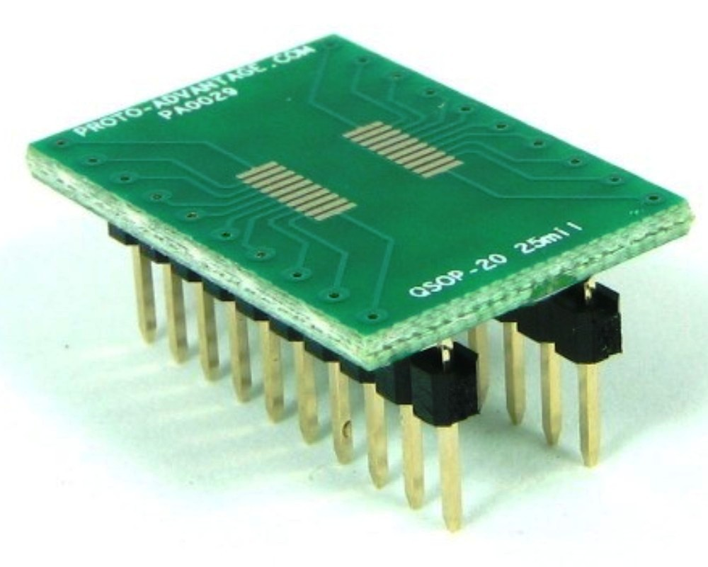 QSOP-20 to DIP-20 SMT Adapter (0.635 mm / 25 mil pitch) 0