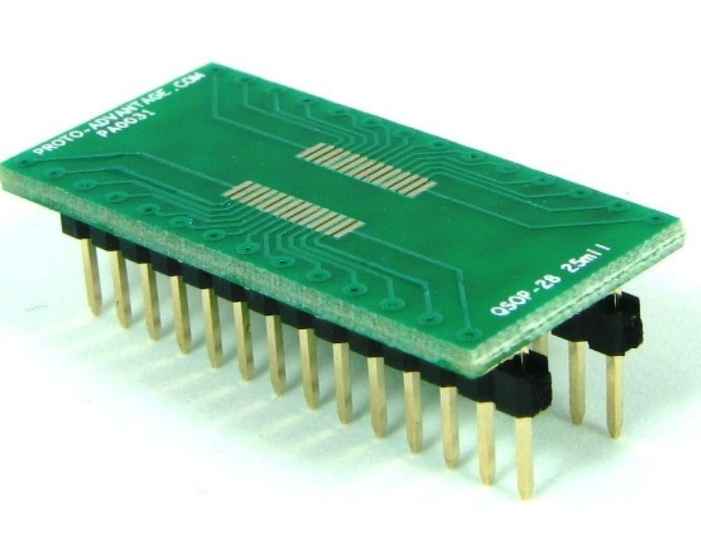 QSOP-28 to DIP-28 SMT Adapter (0.635 mm / 25 mil pitch) 0