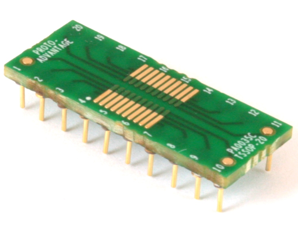 TSSOP-20 to DIP-20 SMT Adapter (0.65 mm pitch) Compact Series 0