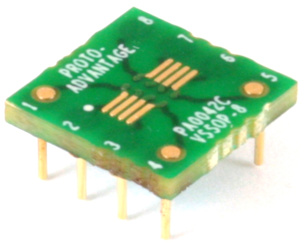 VSSOP-8 to DIP-8 SMT Adapter (0.5 mm pitch) Compact Series 0