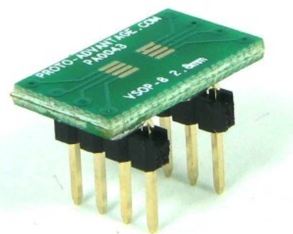 VSOP-8 to DIP-8 SMT Adapter (0.65 mm pitch, 2.8 mm body) 0