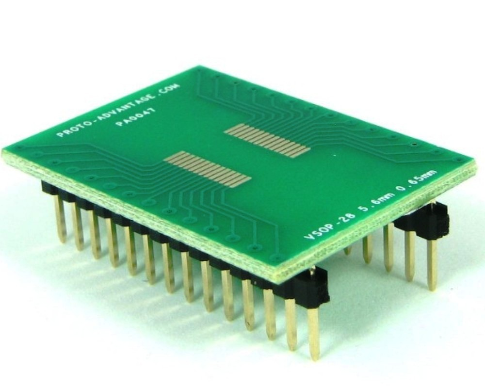 VSOP-28 to DIP-28 SMT Adapter (0.65 mm pitch, 5.6 mm body) 0