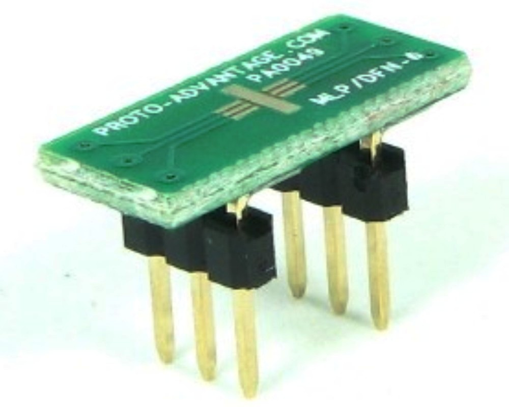MLP/DFN-6 to DIP-6 SMT Adapter (0.5 mm pitch, 2 x 2 mm body) 0