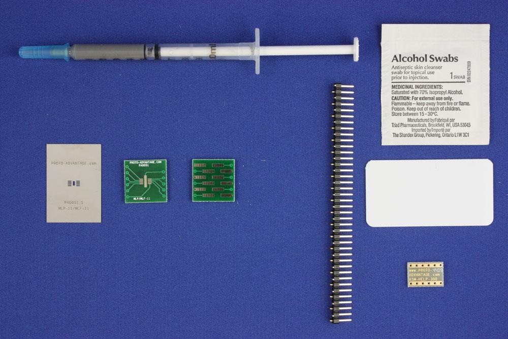 MLP/MLF-11 (0.5 mm pitch, 3 x 3 mm body) PCB and Stencil Kit 0