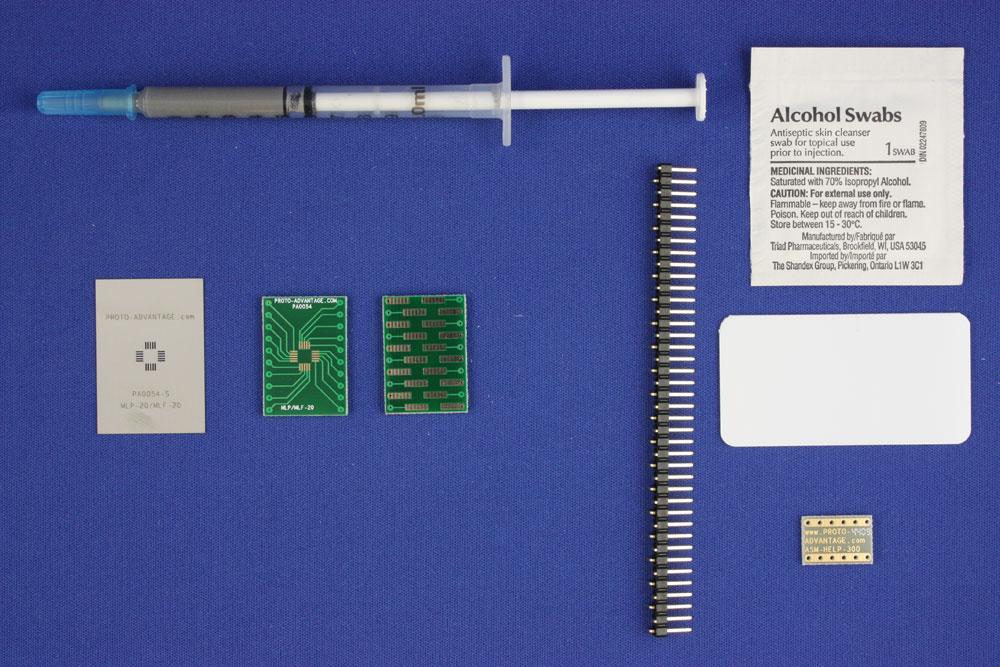 MLP/MLF-20 (0.5 mm pitch, 4 x 4 mm body) PCB and Stencil Kit 0