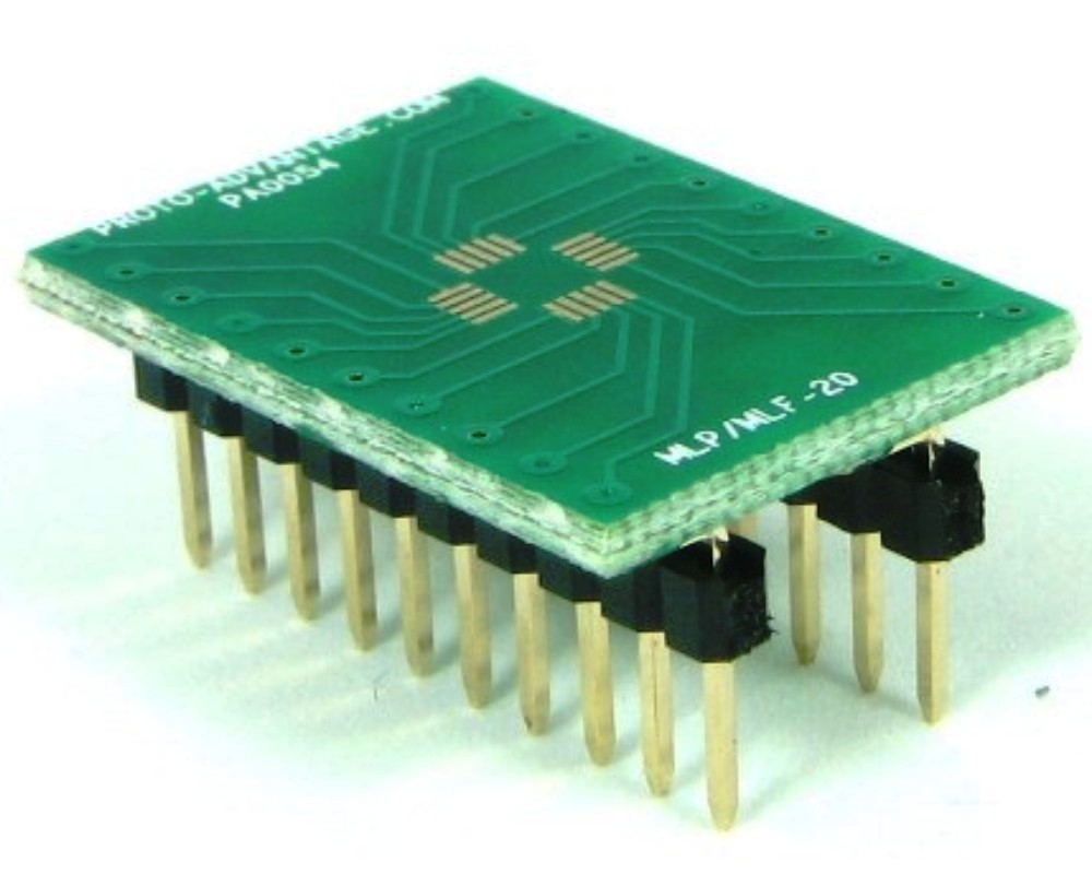 MLP/MLF-20 to DIP-20 SMT Adapter (0.5 mm pitch, 4 x 4 mm body) 0