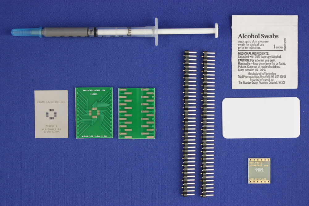 MLP/MLF-28 (0.5 mm pitch, 5 x 5 mm body) PCB and Stencil Kit 0