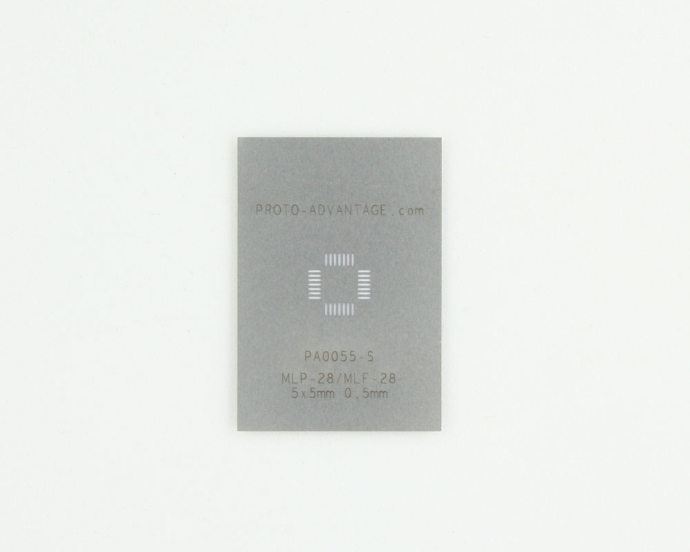 MLP/MLF-28 (0.5 mm pitch, 5 x 5 mm body) Stainless Steel Stencil 0