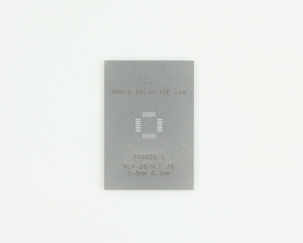 MLP/MLF-28 (0.5 mm pitch, 5 x 5 mm body) Stainless Steel Stencil 0