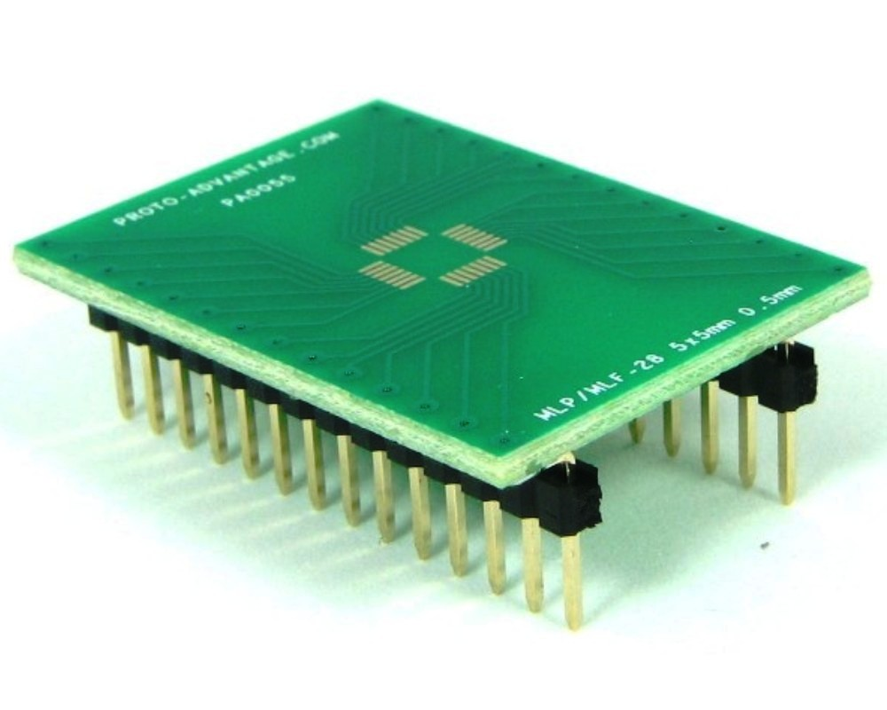 MLP/MLF-28 to DIP-28 SMT Adapter (0.5 mm pitch, 5 x 5 mm body) 0