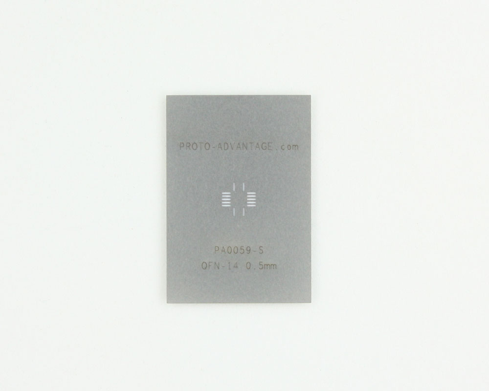 QFN-14 (0.5 mm pitch, 3.5 x 3.5 mm body) Stainless Steel Stencil 0