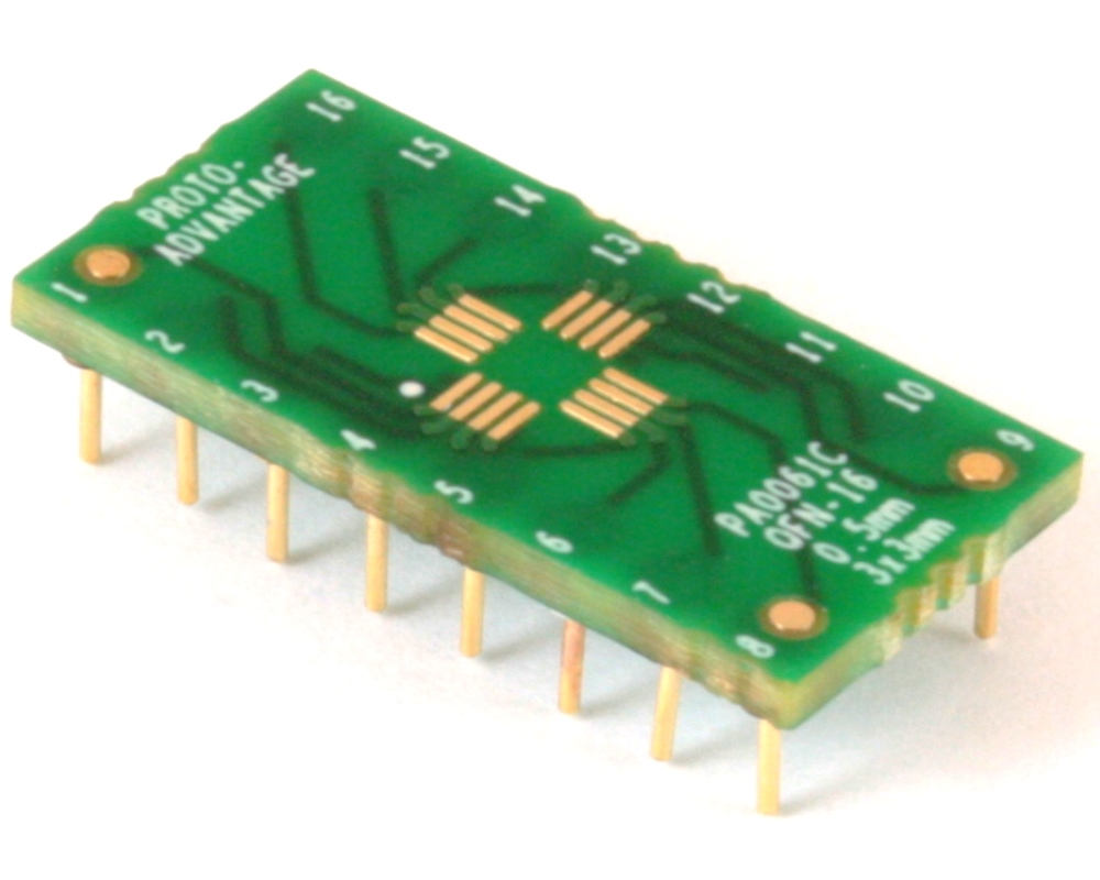 QFN-16 to DIP-16 SMT Adapter (0.5 mm pitch, 3 x 3 mm body) Compact Series 0